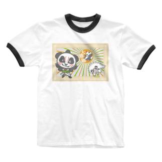 パンダ+歌舞伎 Ringer T-shirts
