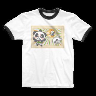 ザ・ワタナバッフルのパンダ+歌舞伎 Ringer T-shirts