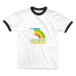 ハッカーズチャンプルーロゴ(正方形) Ringer T-shirts