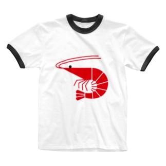大森巳加商店(Ohmori Mika Shoten)のエビ(アカ) Ringer T-Shirt
