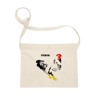 佇む鶏の布かばん Sacoches