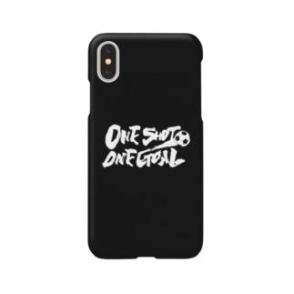 burnworks designのOne Shot One Goal(黒) Smartphone cases