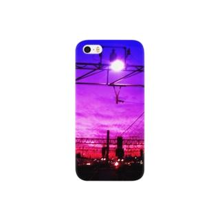朝焼けの線路 Smartphone cases
