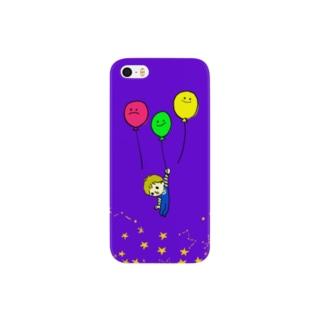 ナイト風船クルージング(夜明けの空) Smartphone cases