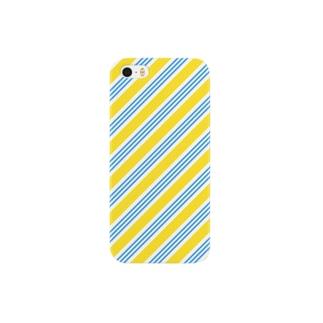イエローとブルーのレジメンタル iPhone ケース スマートフォンケース