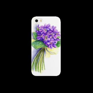 リラのスミレの花束 スマートフォンケース