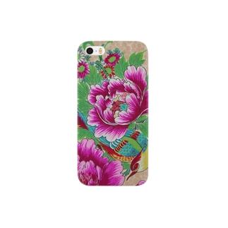 牡丹と目つきの悪い鳥 Smartphone cases