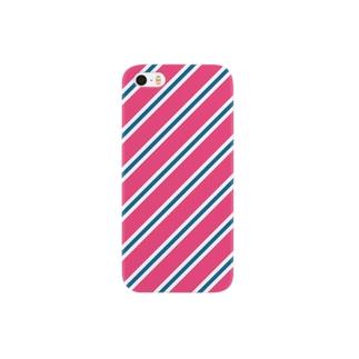サーモンピンクとネイビーのレジメンタル iPhone ケース Smartphone cases