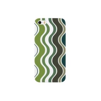 北欧の小さな雑貨店の北欧ウェーブグリーン Smartphone cases