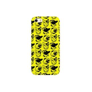 犬模様(イエロー) Smartphone cases