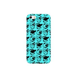 犬模様 (ミント) Smartphone cases