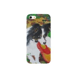 サンダルをくわえる子犬 Smartphone cases