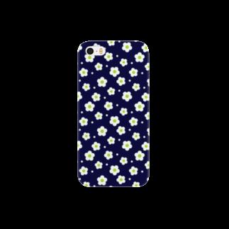 ブロンマのflower05_deep blueスマートフォンケース