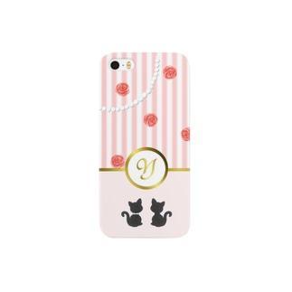 Y pink ストライプ 猫 スマートフォンケース