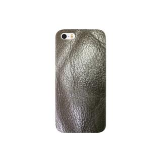 ブラック 革 プリント Smartphone cases