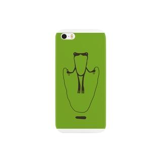 かえるとび_green スマートフォンケース