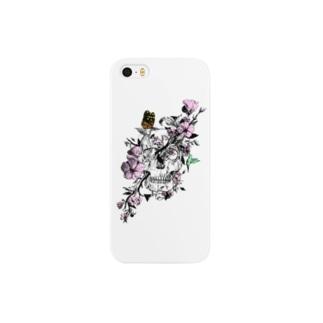 髑髏と花 Smartphone cases