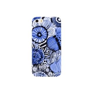 Kissy@Smiley/青色の花 Smartphone cases