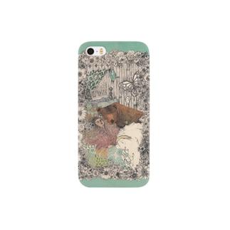 眠るくまと女の子 Smartphone cases
