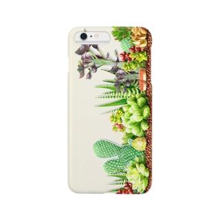 水彩画で描いた多肉植物の寄せ植え Smartphone cases