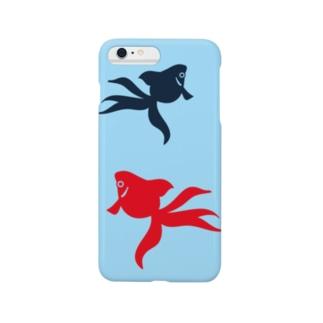 スマートフォンケース - 金魚(2匹) - 金魚のモチーフを和風のシンプルなイラスト