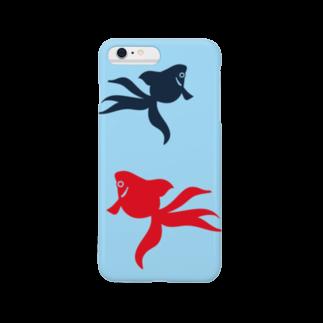burnworks designの金魚(2匹) Smartphone cases