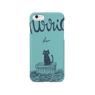 流された猫ケース(青緑) Smartphone cases