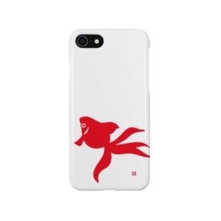 スマートフォンケース - 金魚 - 金魚のモチーフを和風のシンプルなイラストにしています。