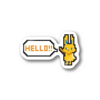 ドット絵風うさぎ「HELLO!!」 ステッカー