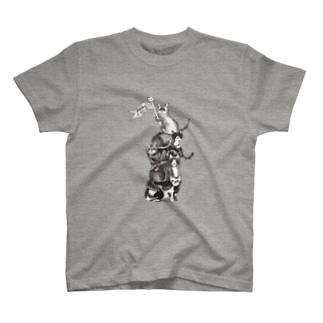 猫サーカス グレー Tシャツ