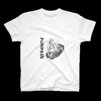 眼鏡のかぼちゃん(フード) Tシャツ