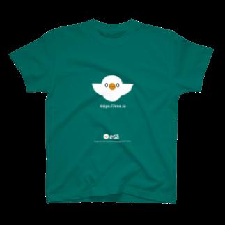 (\( ⁰⊖⁰)/) esaのesa(白抜き) Tシャツ
