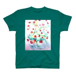 にじみ_お花 T-shirts