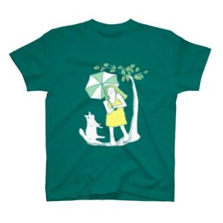チヒロの白い猫と傘 T-shirts