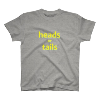 heads or tails yellow+blue T-shirts