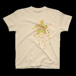 Simple Morning DiaryのSTAR drop Tシャツ(ナチュラル) T-shirts