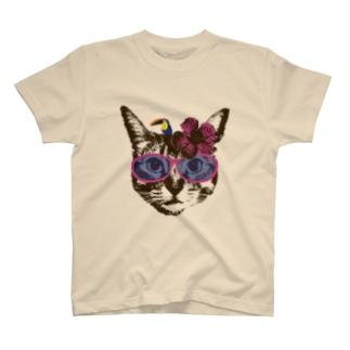 Nobigao ハイビスカス猫 T-shirts