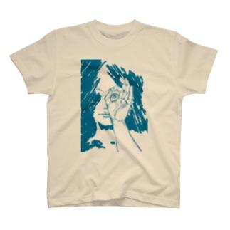 覗く少女・青 T-shirts