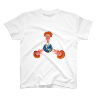 cosajisalutの地球に生えたきのこTシャツ