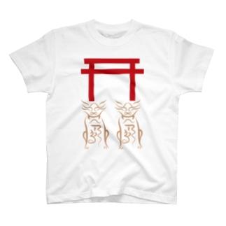 狛犬と鳥居 T-shirts