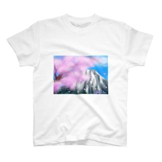 桜と富士山 T-shirts
