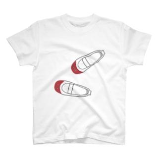 懐かしい脱ぎっぱなしの上履き(赤) Tシャツ