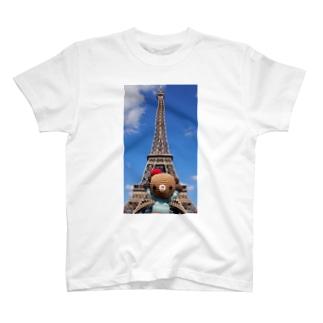 Bonjour!くまこまたエッフェル塔に行く T-shirts