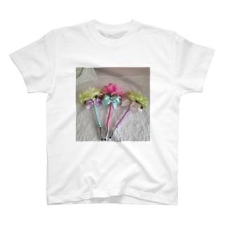 フレンチカラーのフラワーペン T-shirts