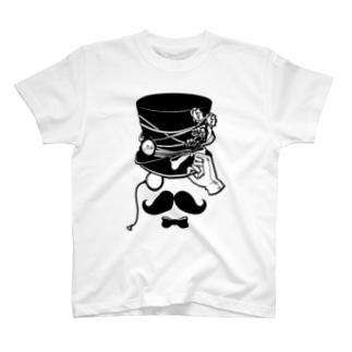 むっしゅーさんご自慢のヒゲとシルクハット T-shirts