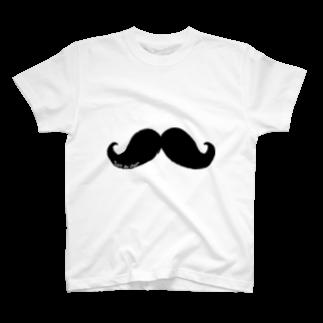 Cɐkeccooのむっしゅーさんのヒゲ-筆書き風バージョン T-shirts