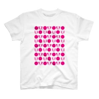 Cɐkeccooのもぐもぐふれんず★もぐもぐドット★ピンク T-shirts