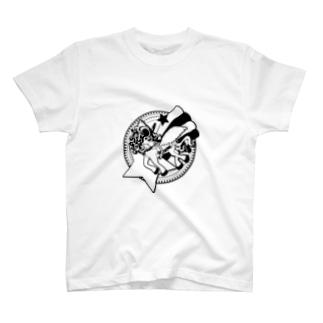 Cɐkeccooの夢見がちなユニコーン-スター-モノクロ T-shirts