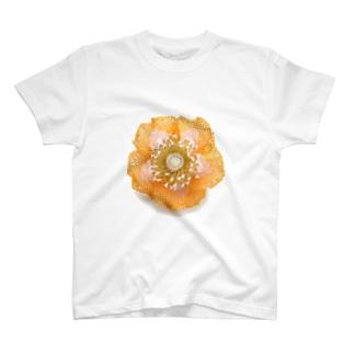 sakuiroのビーズのお花プリント T-shirts