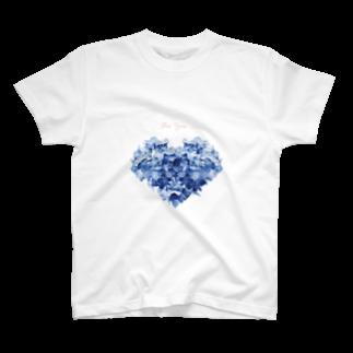 こんなの欲しいをご提供!ArtDesiartのハートのあじさい T-shirts